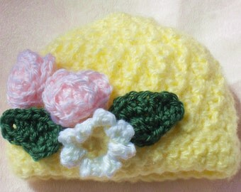 Crocheted Infant Cloche Hat Mohair 4-Ply Soft Yellow 6 12 mo Crocheted Flowers