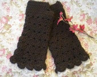 "Crocheted Victorian Fingerless Gloves Alpaca Yarn ""Tea Length"" Dark Brown w Lace Victorian"