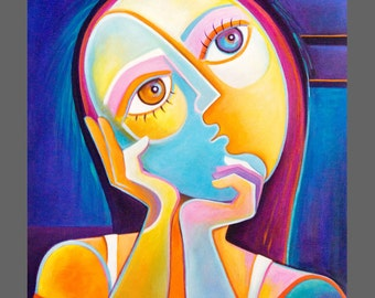 Original Painting Cubist Abstract Art Acrylic on canvas Marlina Vera Modern Figurative Artwork Understanding Life Picasso style sale