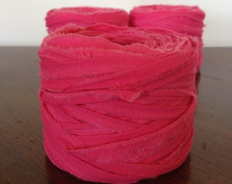 Rag Yarn, Cotton fabric yarn, Fuchsia