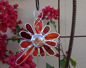 Stained Glass Flower - Handmade - Suncatcher - Orange - Red - Gift - Window Decor - House Warming - Birthday - Mothers Day -