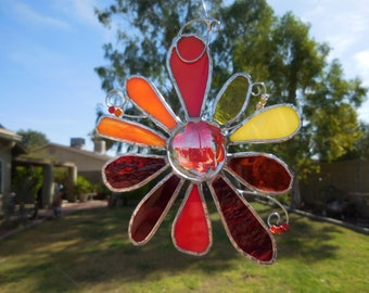 Stained Glass Flower -Handmade - Suncatcher - Yellow - Red - Orange - Gift - Window Decor - House Warming - Birthday - Mothers Day - Easter