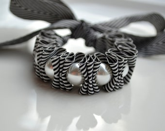 Mothers Day Gift. Twillypop Charlie Chevron Ribbon and Pearl Bracelet. Pearl Jewelry for Women.  Black. Gift Under 25. Bridesmaids. Easter