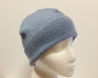 Light Blue Cashmere Beanie * Fold Brim or Slouch * 100% Cashmere Upcycled Sweater Beanie for Teens Women Men Sz M * Tejidos