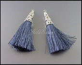 2 dark cool gray / bluish gray color cotton tassel pendants, long tassels with filigree bail charms, bohemian chic 1553R-CGR