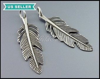 4 detailed leaf pendants in antiqued / vintage silver finish, ring attached, leaf pendant, leaf charm, oxidized silver AN098-S