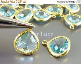 15% OFF 2 aqua blue 13mm glass teardrop pendants, colorful glass stone charms, diy jewelry, crafts 5064G-AQ-13 (bright gold, aqua, 13mm, 2 p