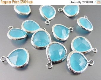 15% OFF 2 ocean blue 13mm teardrop glass pendants, colorful glass charms, glass beads 5064R-OB-13 (bright silver, ocean blue, 13mm, 2 pieces