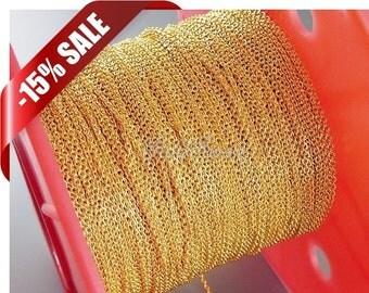15% Spool discount- One spool 100M bulk 1.7mm x 1.5mm brass metal cable chains, wholesale chains B007-BG-Bulk