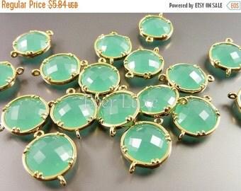 15% SALE 2 mint green 12mm glass connectors, light pastel green framed glass stones 5014G-MI-12