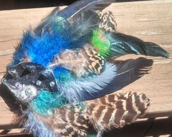 Spike Rhinestone Feather Hair Clip Fascinator