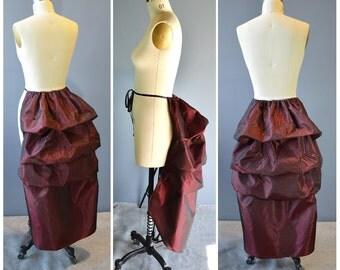mina bustle-ready to ship-red bustle-tie on skirt-sale-gothic-renaissance-steampunk-the secret boutique-corset skirt-costume-victorian