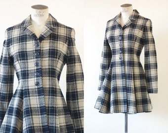 Kenzo tartan woolen jacket with peplum waist | 1990's by Cubevintage | medium