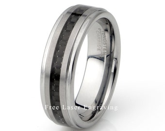 Black Carbon Ring, Mens Wedding Ring, Tungsten Ring, Polished Stepped Edge, Anniversary Ring, Tungsten Band, Personalized 7mm Tungsten Ring