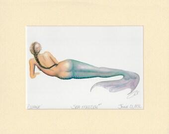 "Mermaid Diane Art Signed Robert Kline Matted 11"" x 14"" Print Fantasy Nautical Gift Beach House Boat Bathroom Home Office Condo Wall Decor"