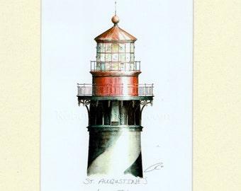 "Saint Augustine Lighthouse Lamp Beacon Light Art Signed Robert Kline 8"" x 10"" Matted Print Nautical Gift Beach House Florida Home Wall Decor"