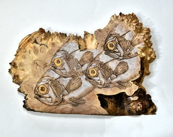 Wife Gift for Mom Wall Decor Wife Birthday Gift Ancient Fish Wood Burned Maple Burl, Wood Sculpture, Woodworking