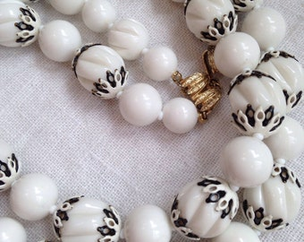 Vendome White Bead Necklace Two Strand Black Accent