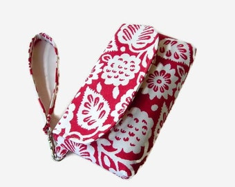 Red Ecru Floral Print Wristlet - Red Phone Pouch - Smartphone Wristlet - Floral Fabric Clutch - Removable Strap
