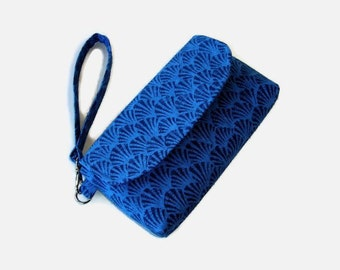 Blue Canvas Wristlet - Denim Blue Phone Pouch - Small Blue Handbag - Fabric Wristlet - Removable Strap - Blue Clutch
