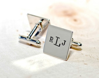 Personalized square sterling silver cuff links with monogram or custom stamping - solid 925 CL533