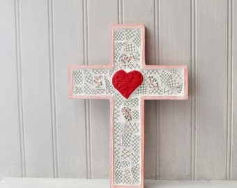 Mosaic Cross - Red Heart - Recycled broken china - Inspirational Decor - Religious - Pink