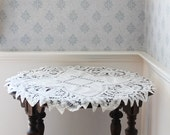 "Vintage White Cotton Battenburg or Tape Lace 28"" Round Tablecloth"