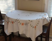 Vintage White Cotton Orange Floral Rectangular Tablecloth