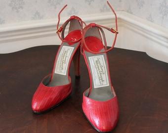 Vintage Susan Bennis Warren Edwards Couture Red Leather Heels Size 8 1/2