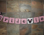 Minnie Inspired Bride to Be Banner Mickey Die Cut Bridal Shower Wedding Sign Decoration Custom Made Banner Match Your Event or Party