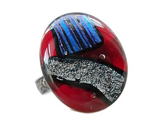 Dichroic Glass Ring/Fused Glass Ring/Adjustable Sterling Plated Band/ Red, Blue and Silver