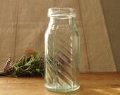 Glass Pickle Jar Antique East India - Aqua Green Glass Bottle - Embossed Dug Glass Bottle circa 1890s