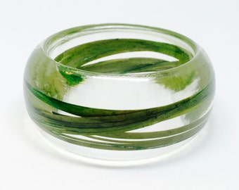 Size Small Wild Grass Resin Jewelry.  Botanical Resin Bracelet. Personalized with Engraving.