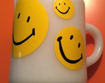 Mid Century Modern Yellow Smiley Face Milk Glass Mug c1950