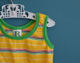 Vintage 1970s 1980s Yellow Striped Tank Top - Size 6-12 Months