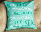 pillow cover sea salt water quote home decor