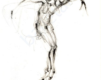 Sylvie, Art print, Ballet art, dance art, wall art, pencil, figure drawing, black and white, sketch, interior design