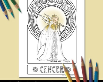 One Adult Coloring Page, Zodiac Art, Cancer, Printable Adult Coloring Pages, Coloring Pages for Adults, Fairy Coloring Pages, Fantasy