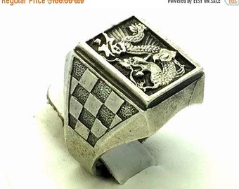CIJ Christmas July SALE Old High Relief Detail Chines Sterling Silver Vintage Dragon Signet Ring