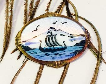 Beautiful French Enamel Guilloche Ship Sunset Birds Ocean Sceen Vintage Sterling Silver Brooch