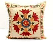 SALE 12x12 fully silk handmade embroidery suzani pillow covers a great quality mastership work of authentic uzbek suzanis, suzani embroidery