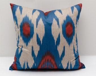 15x15 blue red ikat cushion cover, pillow cover, ikats, blue, red pillows, pillows, blue, hand woven ikat, authentic ikat, blue ikats