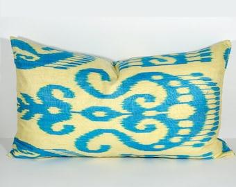 22x14 lumbar ikat pillow cover, lumbar ikat, pillow, long pillow, blue, yellow, blue yellow, uzbek ikat, ikat cushion, pillow, lumbar pillow