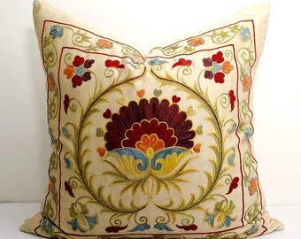 20x20 fully silk handmade embroidery suzani pillow cover, Bohemian Ethnic Handmade Pillows, suzani embroidery, suzani pillows, uzbek pillows
