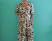 vintage 80's animal bird print wide leg jumpsuit // leopard print jump suit