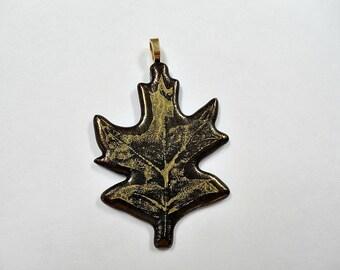 Fused Glass fall oak leaf pendant