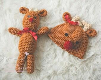 Easy CHRISTMAS Crochet PATTERN Reindeer HAT in 5 sizes & Reindeer Doll