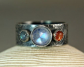 Rustic Blue Moonstone Ring, Antiqued Sterling Silver Three Stone Ring, Hippie Ring, Bohemian Gypsy Jewelry