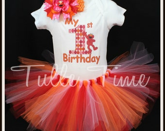 orange pink red Elmo personalized top shirt all sizes with tutu and hair bow set 12m 18m 2t 3t 4t 5