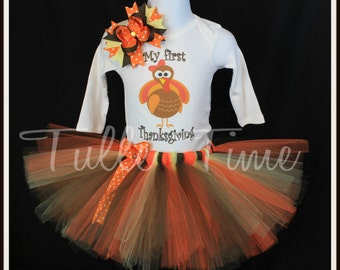 Baby's first 1st Thanksgiving Turkey body suit onesie tutu dress outfit with bow sizes newborn, 0-3m, 3-6m, 6-12m 12m 18m